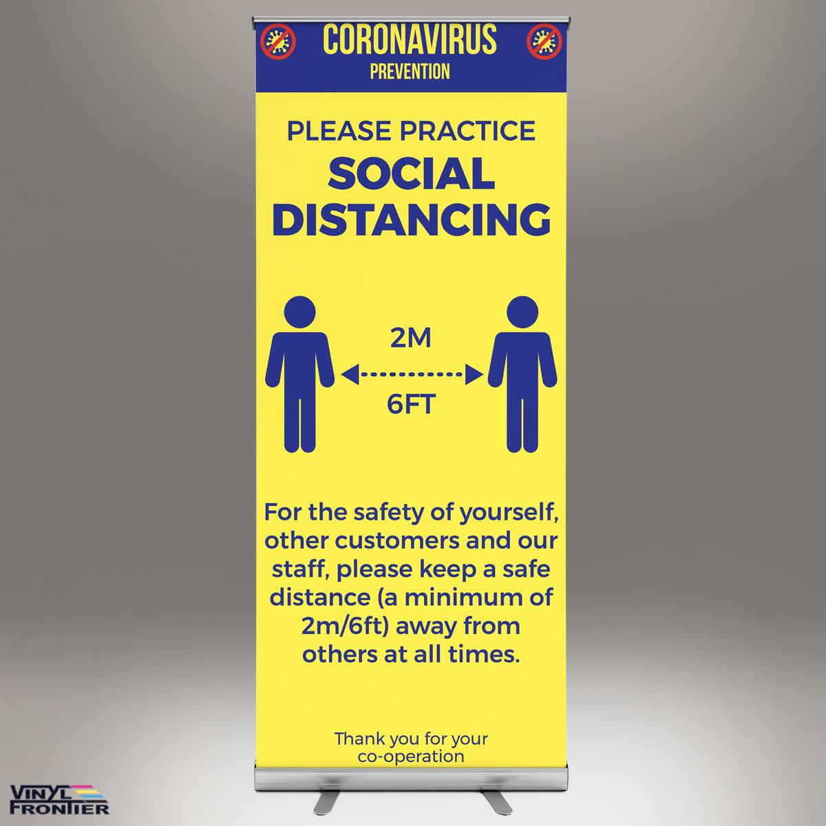 Social Distancing Roll Up Banner Vinyl Frontier